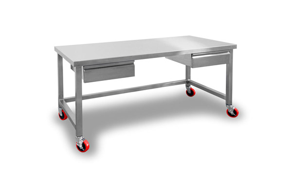 Stainless Steel table with casters and two drawers